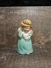 Vintage Porcelain Angel w/ Lamb Bisque Bell Figurine. Jasco 1970s