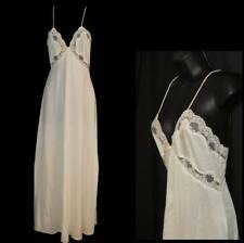 """VAL MODE Nightgown M Ivory LONG LENGTH Full 82"""" Sweep SILKY SATIN"""