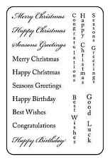 Unmounted rubber stamps Greetings - Christmas and Birthdays