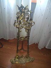 Vintage Antique Cast, Large Ornate Vintage Brass Easel  Angel Face Detail, decor