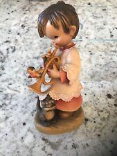 Anri Carved Wooden Figurine Ferrandiz Girl Playing Trumpet Cat Bird. Very Rare.