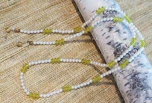 Eyeglass Sun Glass Leash Holder Chain - Faux Pearl & Peridot Green Acrylic Beads