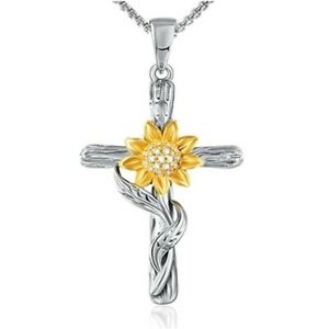 Sunflower Cross Necklace for Women You Are My Sunshine Necklace