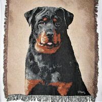 Manual Woodworkers & Weavers Linda Picken Rottweiler Dog Tapestry Throw Blanket
