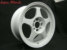 15X7 ROTA WHEELS SLIPSTREAM 4X100 WHITE RIMS FITS INTEGRA COBALT NEON CIVIC