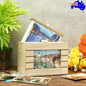 Photo Box Album Wood Vintage Postcard Family Baby Wedding Memory Storage Box