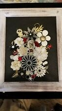Vintage and modern framed Jewelry Art  OOAK  BLACK/WHITE/RED FLORAL 10X12