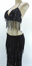 Sexy Bead Belly Dance Dancing Beaded Skirt Bra Lingerie Costume Black One Size