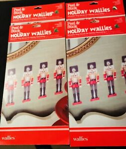 NIP HOLIDAY WALLIED VINYL DECALS FOR HOLIDAY DECORATING NUTCRACKERS 4 packs