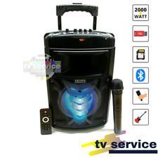 Cassa Acustica Amplificata Trolley Karaoke con Microfono 2000 Watt P.M.P.O