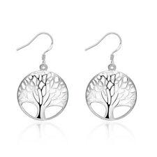 925 Sterling Silver Filled Higt Polished Tree Of Life Dangly Earrings Gift