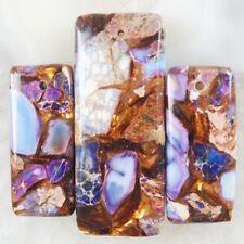 3pcs Purple Sea Sediment Jasper Gold Copper Bornite stone Oblong Pendant  JC028