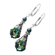 Vintage Inspired Faceted Green Baroque Teardrop Crystal Dangle Earrings