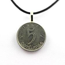 """Pendentif Pièce de Monnaie Authentique """" France """" 5 centimes Épi + cordon cuir n"""