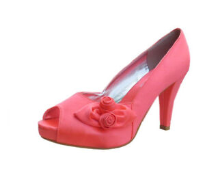 Ladies Wedding Party Heel Shoe Evening Shoes Peep Toe Coral Orange Satin NEW