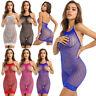 Sexy Women Mesh Net Mini Dress See-Through Fishnet Sleeveless Clubwear Stripper