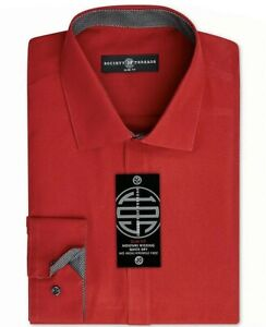 Society of Threads Mens Dress Shirt Red Size XL Slim Fit Solid Stretch $50 #008