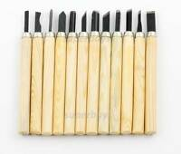 12pcs Woodwork Clay Wax Sculpture Pottery Chisel Carver Carving Wood Tool Set