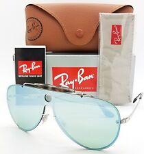 NEW Rayban Blaze Shooter Sunglasses RB3581N 003/30 32 Silver Dark Green Aviator