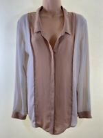THE KOOPLES nude pink beige silky long sleeve shirt blouse top size L 14 euro 42