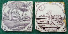 2 antique Dutch Delft Manganese Bible Biblical Religious Tiles