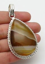 Stripped Onyx  Pendant Gemstone Jewellery Ethnic 925 Sterling Silver Hand Made