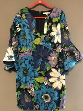 Trina Turk Winnie Wild Flower Faille Bell-Sleeve Dress 12 NWT