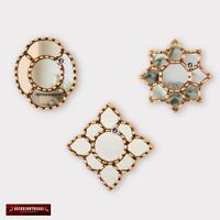 "Small Gold Accent Wall Mirror set 3 - Decorative Vintage mirrors of 6"" for wall"