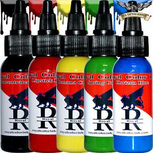 Royal Color Ink 1 oz 5 Color Set - Black, Red, Yellow, Green, Blue