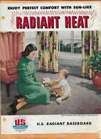 U.S RADIATOR CORP RADIANT HEAT BROCHURE 4 PAGES  VINTAGE ADVERTISING