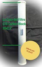 """10 Filtro Acqua CTO Carbone 20"""" Pollici Slim Depuratore Addolcitore Osmosi"""