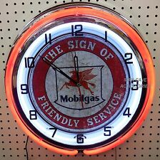 "18"" MOBIL Socony Pegasus Mobilgas The Sign of Friendly Service Double Neon Clock"