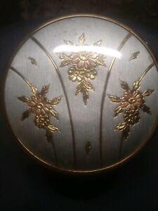 Art Deco Vanity Powder Box Glass Jar with Copper Edge Floral Chokin Pattern Lid