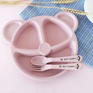 Anti-hot Cute Bear Children Tableware Set Wheat Straw Feeding Training Plates