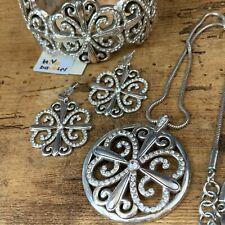 BRIGHTON 3PC Rhinestone Floral Design Necklace Cuff Bracelet & Earring Set