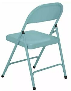 NEW! Metal Folding Chair Office Dinning Outdoors Garden Party Picnic Chair Blue