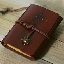 Retro Vintage Leather Bound Blank Page Notebook Note Notepad Journal Diary B FZ