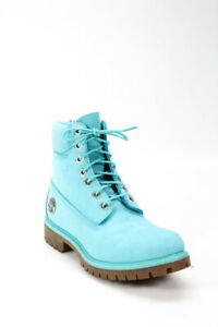 Timberland Womens Lace Up Blue Suede Combat Boots Shoes Size 7M