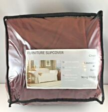 Sure Fit Slipcover Furniture Cover Basics Washable Loveseat Red Garnet