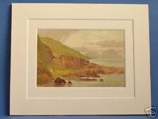 GIANT'S CAUSEWAY THE LOOM RARE SUPERB QUALITY 1879 ANTIQUE DOUBLE MOUNTED PRINT