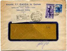 1951 Italia al Lavoro RACCOMANDATA Amiderie F.ll Gadda - Fagnano Olona - 30 lire