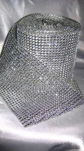 "4.75"" x 10 yds Silver Sparkle Diamond Mesh Wrap Roll Rhinestone Crystal Ribbon"