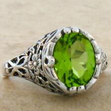 2 Ct Genuine Peridot 925 Sterling Silver Edwardian Design Ring Size 4.75, #724
