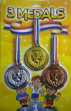Pack Of 3 Toy Plastic Medals - Gold, Silver And Bronze - Great Party Bag Fillers