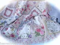 4 pc French Provincial Blue Country Quilted Patchwork 100% Cotton King Quilt Set
