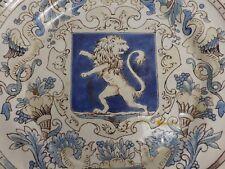 Superbe Assiette en Faience de Saint St. Clément. Signé H - G, E. Gallé ? Lion