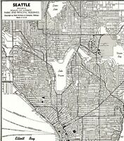 1947 Antique SEATTLE WASHINGTON Street Map Vintage City  Map of Seattle 7359