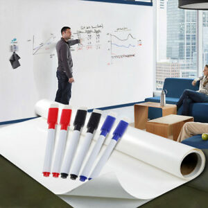 4M x 60cm DRY WIPE Removable Whiteboard Vinyl Wall Sticker Office Home 6 Markers