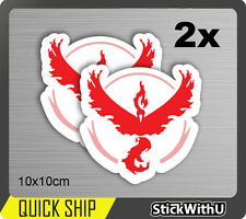 Pokemon Go Vinyl Decal Sticker Game Team Valor Red Moltres Logo 100mm PG11 x2