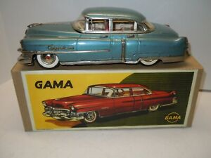 Large Japan Gama Tin Fly Wheel./Friction 1954 Cadillac in BOX.NICE. NO RESERVE